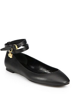 Alexander McQueen - Double-Wrap Skull Leather Ballerina Flats