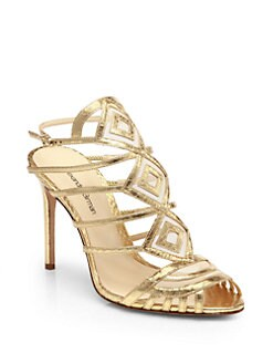 Alexandre Birman - Strappy Metallic Leather Cage Sandals