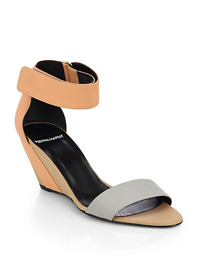 Multicolored Leather Wedge Sandals