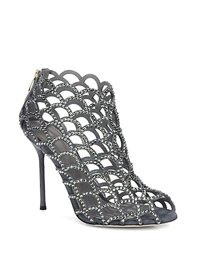 Sergio Rossi // Crystal-Coated Mermaid Ankle Boots