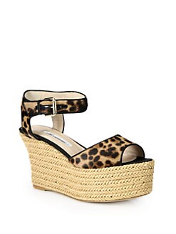 Brian Atwood - Kelsie Leopard-Print Pony Hair Raffia Wedge Sandals