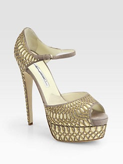 Brian Atwood - Tribeca Suede & Leather Laser-Cut Platform Sandals