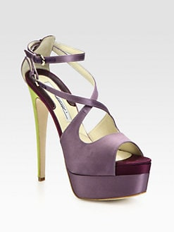 Brian Atwood - Alexia Double-Strap Satin Platform Sandals