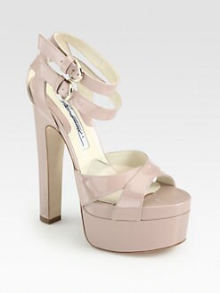 Brian Atwood - Lattice Patent Leather Ankle Strap Platform Sandals