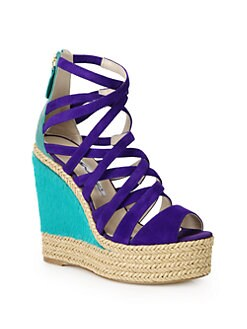 Brian Atwood - Elsie Suede & Pony Hair Raffia Wedge Sandals