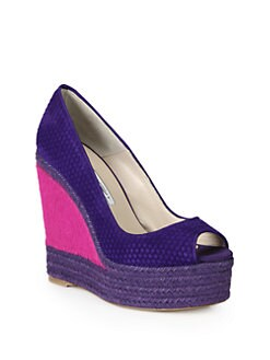 Brian Atwood - Cailey Woven Suede & Pony Hair Espadrille Wedges