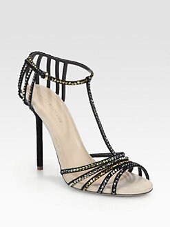 Sergio Rossi - Crystal-Coated Suede T-Strap Sandals
