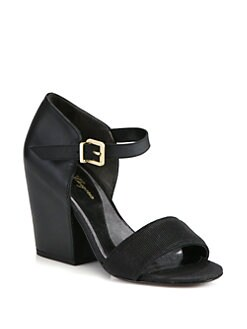 Robert Clergerie - Nanty Textured Leather Block Heel Sandals