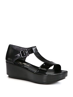 Robert Clergerie - Pepo Leather & Patent T-Strap Platform Sandals