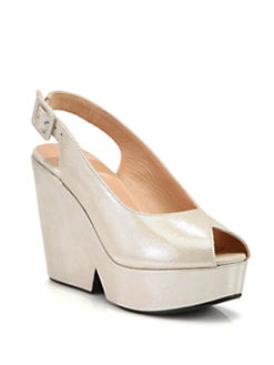 Robert Clergerie - Dylane Metallic Suede Slingback Wedge Pumps