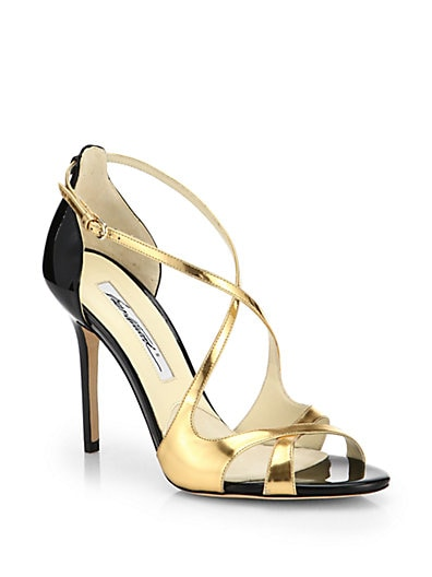 Kalliope Crisscross Mirror Leather Sandals