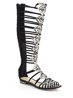 Alexandre Birman - Python Gladiator Knee-High Sandal Boots