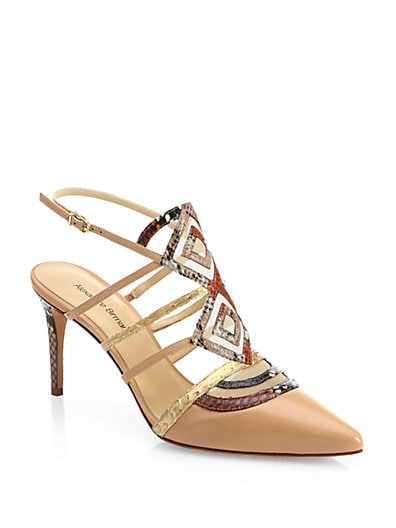 Snakeskin  Leather Cage Pumps