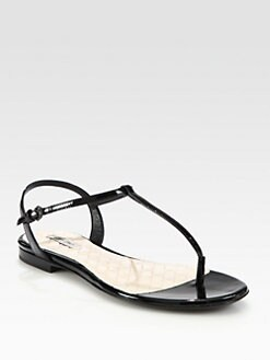 Bottega Veneta - Patent Leather T-Strap Sandals