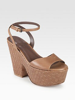 Bottega Veneta - Woven Leather Wedge Sandals