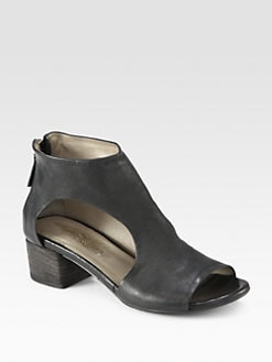 Marsell - Leather Cutout Ankle Boots