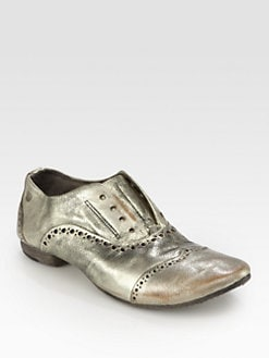 Marsell - Distressed Metallic Leather Laceless Oxfords