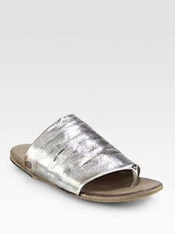 Marsell - Distressed Metallic Leather Thong Sandals