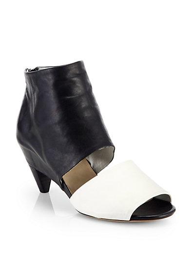 Bicolor Leather Banded Sandals