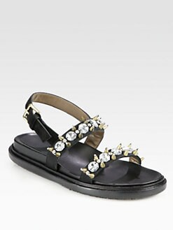 Marni - Rhinestone Studded Suede Sandals