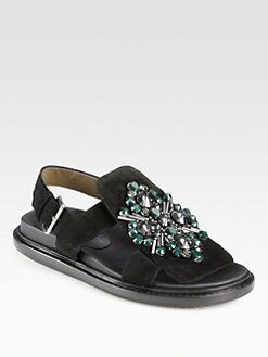 Marni - Jeweled Suede Sandals
