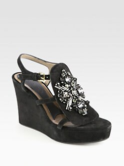 Marni - Jeweled Suede Wedge Sandals