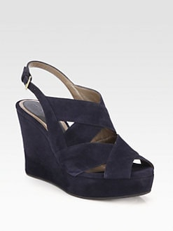 Marni - Suede Banded Wedge Sandals