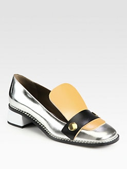 Marni - Metallic Leather Loafers