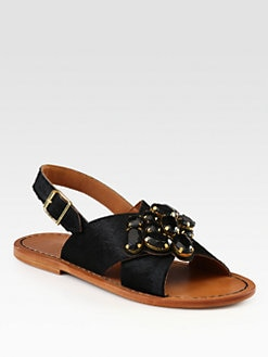 Marni - Jeweled Calf Hair Crisscross Sandals