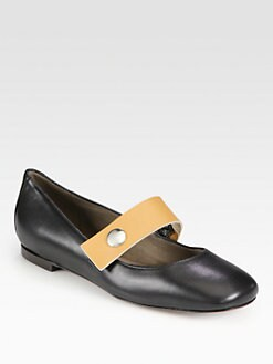 Marni - Bicolor Leather Mary Jane Ballet Flats