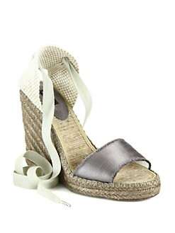Marc Jacobs - Striped Canvas Espadrille Wedge Sandals