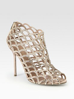 Sergio Rossi - Suede and Swarovski Crystal Mermaid Ankle Boots