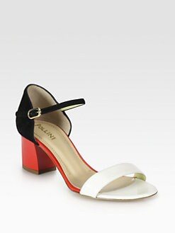 Pollini - Patent Leather & Suede Ankle Strap Sandals