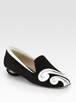 Nicholas Kirkwood - Suede & Patent Leather Swirl Loafers