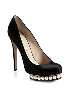 Nicholas Kirkwood - Satin Faux Pearl-Detail Pumps