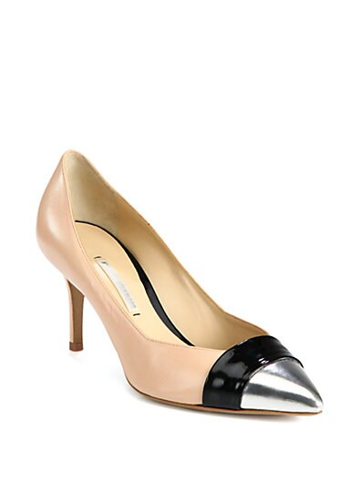 Leather  Patent-Trimmed Pumps