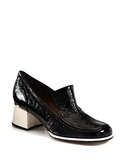 Marni - Crinkled Patent Leather Loafer Pumps