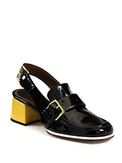 Marni - Patent Leather Loafer Slingback Pumps