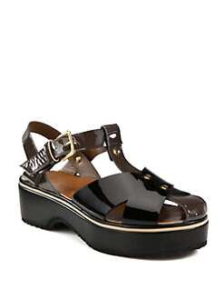 Marni - Crisscross Patent Leather Platform Sandals