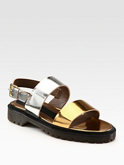 Marni - Metallic Leather Banded Sandals