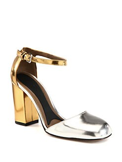 Marni - Bicolor Metallic Leather Ankle Strap Pumps