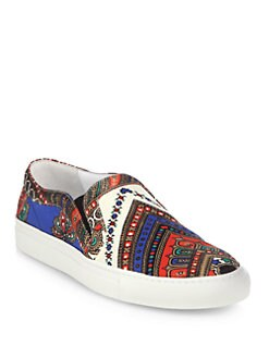 Givenchy - Canvas Print & Leather Slip On Sneakers