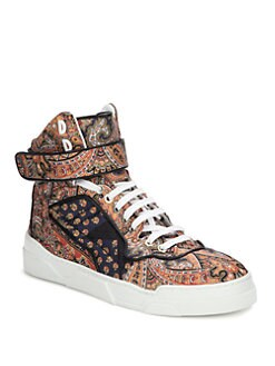 Givenchy - Canvas Print & Leather High Top Sneakers