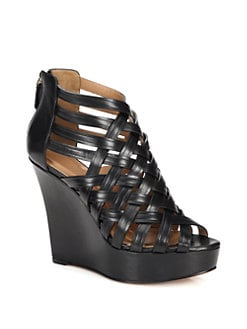 Givenchy - Leather Lattice Wedge Sandals