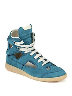Maison Martin Margiela - Cutout Leather High Top Lace-Up Sneakers