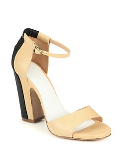 Maison Martin Margiela - Trompe L'Oeil Leather Ankle Strap Sandals