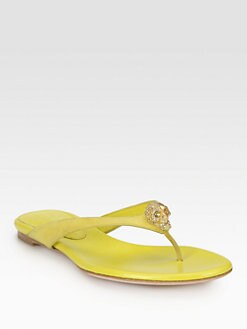 Alexander McQueen - Skull Leather Thong Sandals