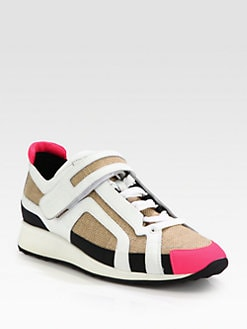 Pierre Hardy - Canvas & Leather-Trimmed Lace-Up Sneakers