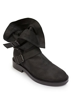 Ann Demeulemeester - Fold-Over Leather Buckle Boots