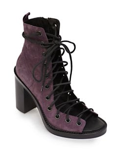 Ann Demeulemeester - Suede Lace-Up Ankle Boots